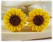 Yellow Sunflower Earrings Studs - Yellow Sunflower Earrings, Sunflower Jewelry, Sunflower Clip On Earrings, Sunflower Gift, Flower Jewelry