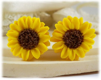 Yellow Sunflower Earrings Stud or Clip On - Sunflower Jewelry Collection