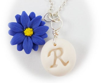 Personalized Aster Blue Flower Initial Necklace - Aster Jewelry, Blue Daisy Jewelry, September Birthday Birth Flower