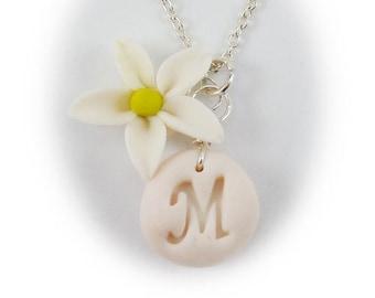 Personalized Jasmine Initial Necklace - Jasmine Jewelry