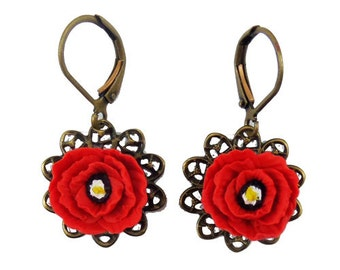 Poppy Filigree Earrings - Poppy Vintage Style Earrings, Poppy Jewelry