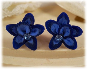 Blue Orchid Earrings Stud or Clip On