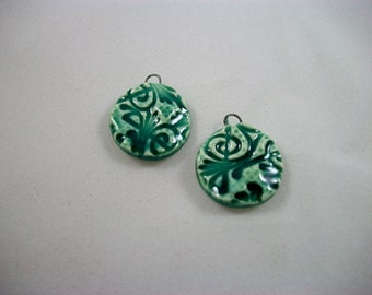 Handmade Sea Green Textured Round Ceramic Earring Set