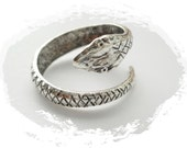 SILVER RING (2 Pieces) Serpent  Snake Ring ~ Antique Silver Ring ~ Adjustable Statement Ring (RE-1)