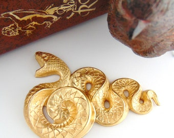 BRASS Large Serpent Snake Stampings - Jewelry Findings ~ Brass Stamping (C-506) #