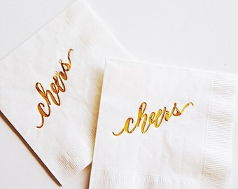 Gold Foiled Cheers {white} Napkins