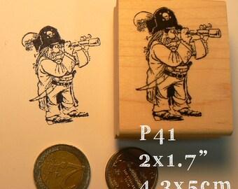 P41 Pirate  rubber stamp WM
