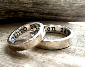 Sterling Silver Wedding Ring Band, Men, Womens, Couples Ring Set, Custom, Personalized, Engraved, Hand Stamped, Engagement Promise Ring
