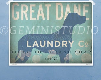 Great Dane laundry company dog laundry room artwork giclee archival signed artists print by stephen fowler PIck A Size