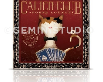 Calico Club poker lounge Cat artwork on gallery wrapped canvas  by stephen fowler
