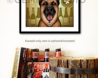 German Shepherd dog Brewing company artwork illustration giclee archival signed artists print  by stephen fowler