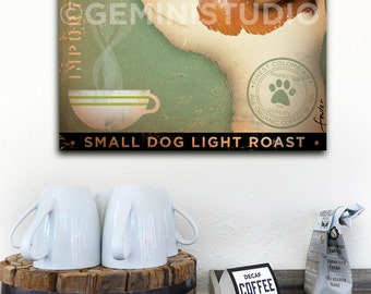 Jack Russell Coffee company dog illustration graphic artwork on gallery wrapped canvas by Stephen Fowler