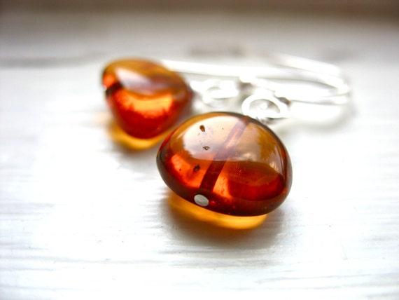 Amber Earrings, Baltic Amber Stone Dangle Drop Earrings, Handmade Baltic Amber Stone Earrings Jewelry