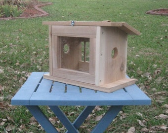 Handmade Natural Cedar Birdhouse Bluebird Feeder (new design)