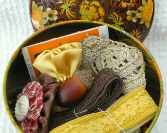 Pretty Vintage Tin Filled with Vintage Sewing Notions, Lace, Trims, Buttons and More - in Gorgeous Fall Colors