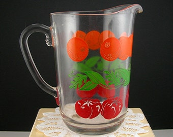 Vintage Glass Pitcher, Enameled Oranges, Red Tomatoes and Green Leaves, 32 Oz, Juice Pitcher Mid Century Retro Kitchen, Home Farmhouse Decor