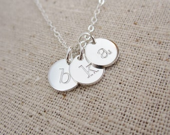 Custom family necklace, three initials, solid sterling silver mothers necklace, mom necklace, mothers day gift