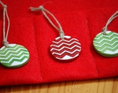 Free Shipping! Gift Wrap Mini Ornaments - Trees - set of 3 SNOWY CHRISTMAS