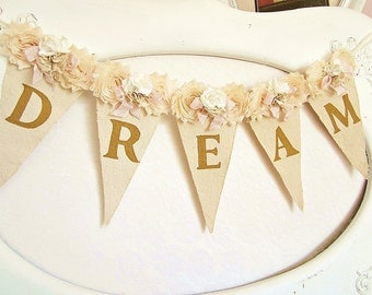 Girl Name Banner, Champagne, Pink and Gold Birthday, Shabby Chic Nursery Banner, Girl 1st Birthday Decor, Shabby Chic Wedding, Shower