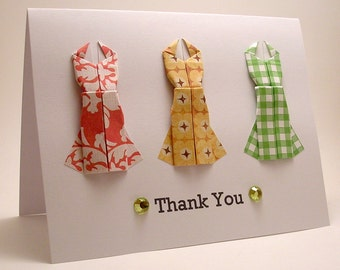 Origami Dress Thank You card (red yellow green)