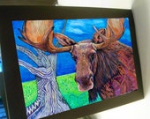 greeting card print of originlal drawing Majestic Moose colorful zentangle