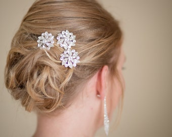 Wedding Hairpins Silver  Rhinestones Set of  3 Bridal Accessories Made to Order Ships in 1-2 weeks.