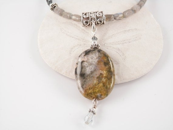 Ocean Jasper, Labradorite, Pewter, and Glass Bead Necklace