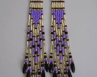 Native American Seed Bead Earring - Purple
