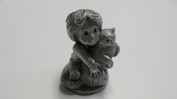 Vintage Pewter Girl Holding Cat With Flower In Her Hair