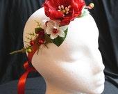 Noel Red and White Christmas Holiday Party Bridal Floral Satin Ribbon Headband or Hair Clip