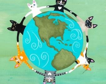 Earth Day Cats Original Folk Art Digital Print 8x8, 10x10, 12x12