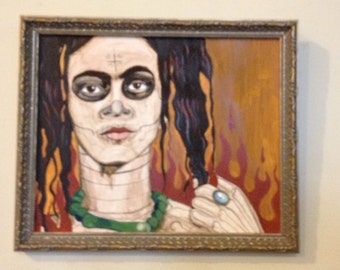 Original Frida with hair down egg tempra painting