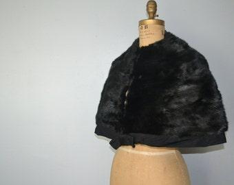 1930s  Black mink  stole- mink fur wrap - black mink capelet-fur shawl-black mink cape