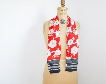 Echo silk scarf- Echo club scarf- Floral scarf- Long red scarf - Echo long scarf