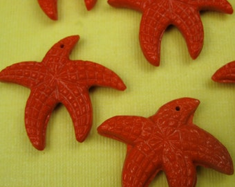 1940s Vintage Red Czeck Glass Starfish Pendant Bead