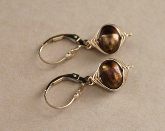 Gold Filled Wire Wrapped Iridescent Brown Freshwater Pearl Dangle Leverback Earrings