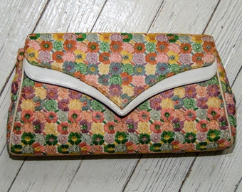 VIntage 1950's Saks Fifth Avenue Embroidered Floral Clutch