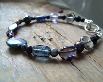Beaded Bracelet - Black, Gray and Purple. Sterling Silver Halloween Jewelry Fall Fashion Gothic Style Coin Pearl June Birthstone