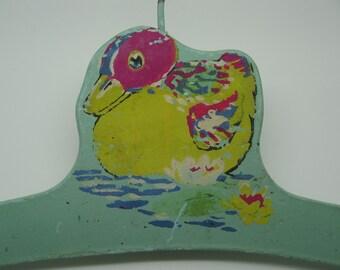Vintage Wooden Painted Baby Children Hanger with Duck