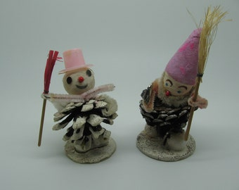 Vintage Pinecone Snowman and Gnome Pink and Lavender Christmas
