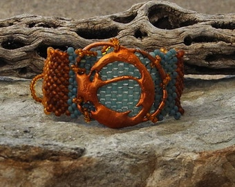 Free Form Peyote Stitch Beaded Bracelet  - Splash Copper - Bead Weaving - The Circle of Energy