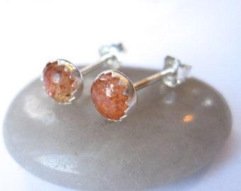 Oregon Sunstone Stud Earrings, Oregon Sunstone Earrings