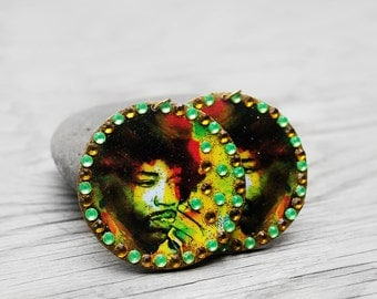 Jimi Hendrix, Wood Earrings, Fan Earrings, Jimi Hendrix Bejeweled Wood Fan Earrings