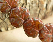 RESERVED FOR C Red Brown Czech Glass Maple Leaf Beads Rust Opal Amber Picasso10x13mm (30)