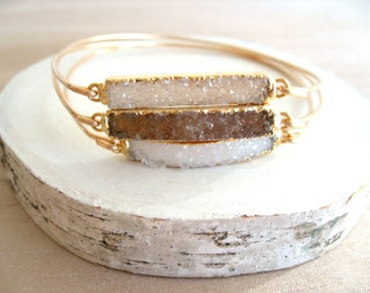 Druzy bangle Drusy bar bangle 14K gf Gift for her Under 55 Vitrine gray cream smoky brown