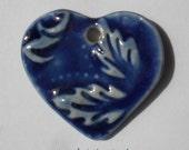 Handcrafted Cobalt and Oasis Blue Porcelain Heart Pendant