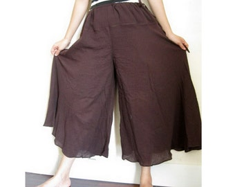 Brown Boho Hippie Soft Cotton drawstring waist wide legs Pants (P02)