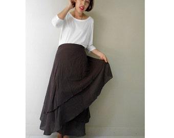 Boho Hippie Brown Cotton  Gypsy Two Layers Circle  Wrap Skirt S-L (WS 01)