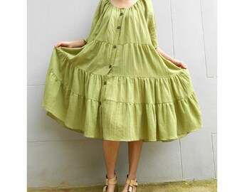 Custom Made Boho Oversize Green Cotton Sweet Buttons  Tunic Summer Dress (H)