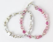 Pretty in Pink Sterling Silver and swarovski crystal beaded baby bracelet with charm-newborn to toddler sizes available